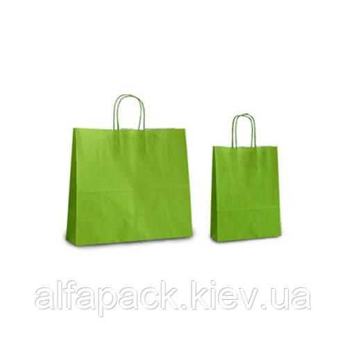 Пакет бумажный с кручеными ручками салатовый 150х90х390 мм