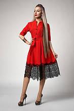 Жіноче ошатне плаття з мереживом