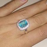 Аква кольцо с аквамарином размер 17 аквамарин, фото 2