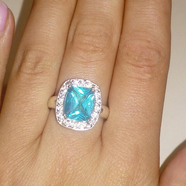 Кольцо голубой кварц-топаз размер 17