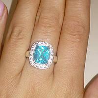 Кольцо голубой кварц-топаз размер 17, фото 1
