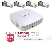 Комплект HD видеонаблюдения Dahua уличный на 4 камеры