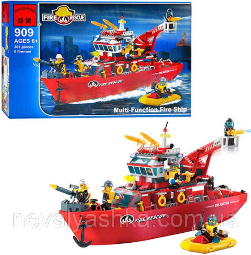 Конструктор Brick Enlighten Fire Rescue Пожарный Спасательный Катер Лодка, 361 дет., 909, 007692