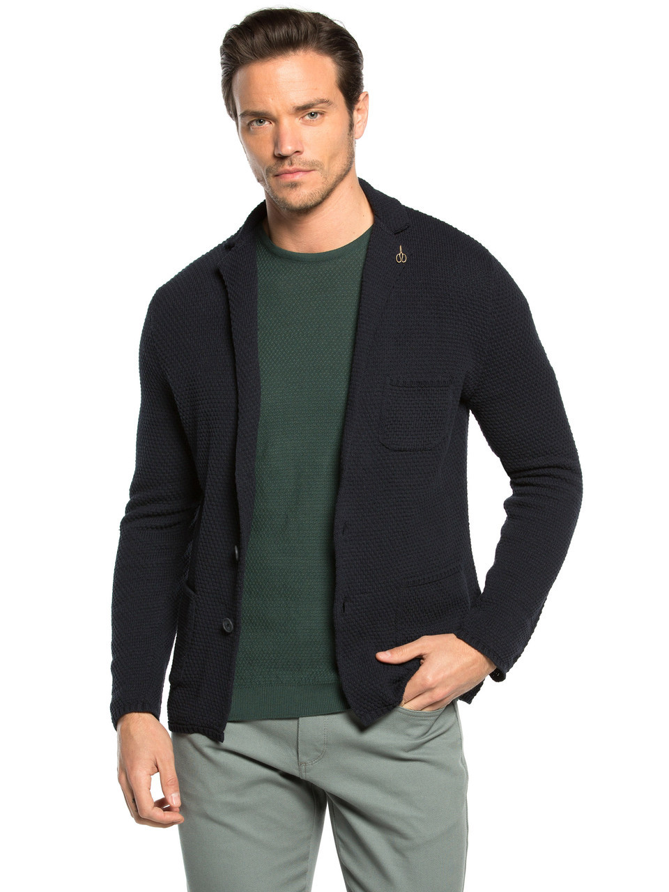 Вязаный мужской пиджак LC Waikiki / ЛС Вайкики на пуговицах , с карманами