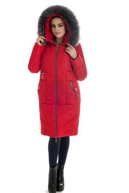 Зимний женский пуховик с искусственным мехом
