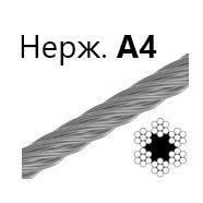 Трос 3 мм., DIN 3055 6х7 нержавеющий А4 с органической сердцевиной