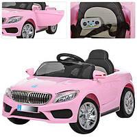 Детский электромобиль BMW M 3270 EBLR-8 розовый, мягкие колеса и кожаное сиденье