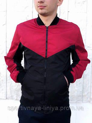 Мужская черная демисезонная куртка бомбер, фото 2