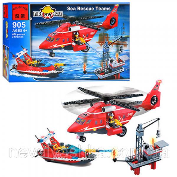 Конструктор Brick Enlighten Fire Rescue Пожарная тревога вертолет лодка катер порт, 404 дет., 905 007691