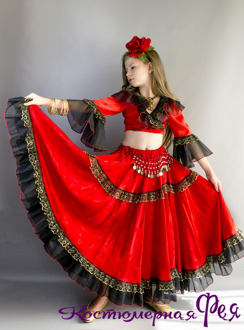 Цыганка, детский карнавальный костюм цыганочки (код 24/8)