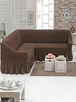 Натяжные чехлы на угловой диван (универсальный) , Турция с оборкой(Много цветов в наличии)