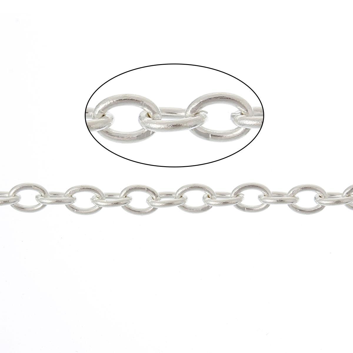 """Цепочка """" Крест """", Металл, Цвет: Серебро, 3 мм x 2.5 мм"""