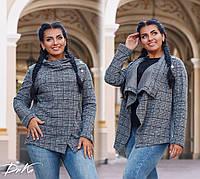 5f7deec35cc Женский кардиган жакет короткий с воротом клетка короткое пальто батал  размеры 50-52