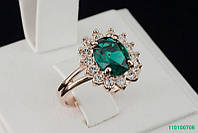 """Кольцо """"Изумруд"""" с кристаллами Stellux™ (Swarovski), покрытие золото"""