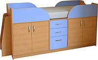 Кровать-чердак с рабочей зоной МАЛЫШ-9(16)