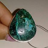 Малахит хризоколла кольцо с натуральной малахитовой хризоколлой в серебре Индия размер 19,5, фото 2