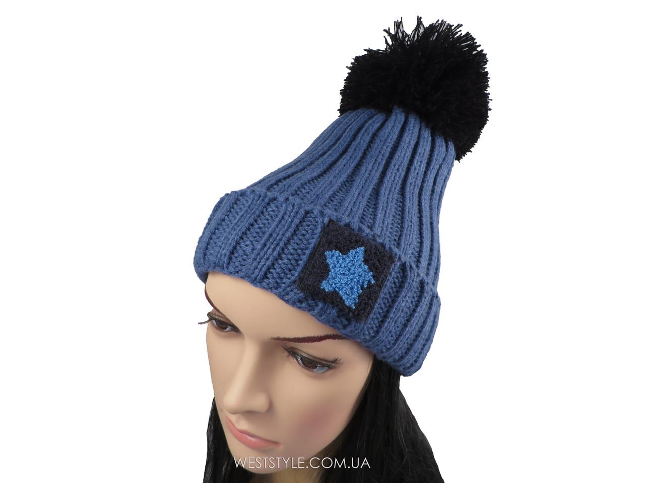 Темно-синяя шапка Hot с помпоном