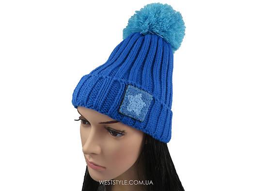 Синяя шапка Hot с помпоном