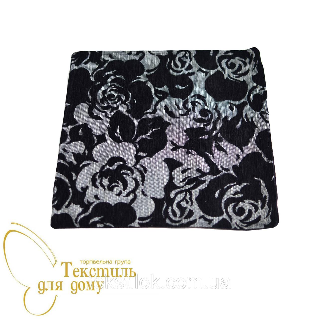 Наволочка декоративная рельефные цветы BURGAZ, черный