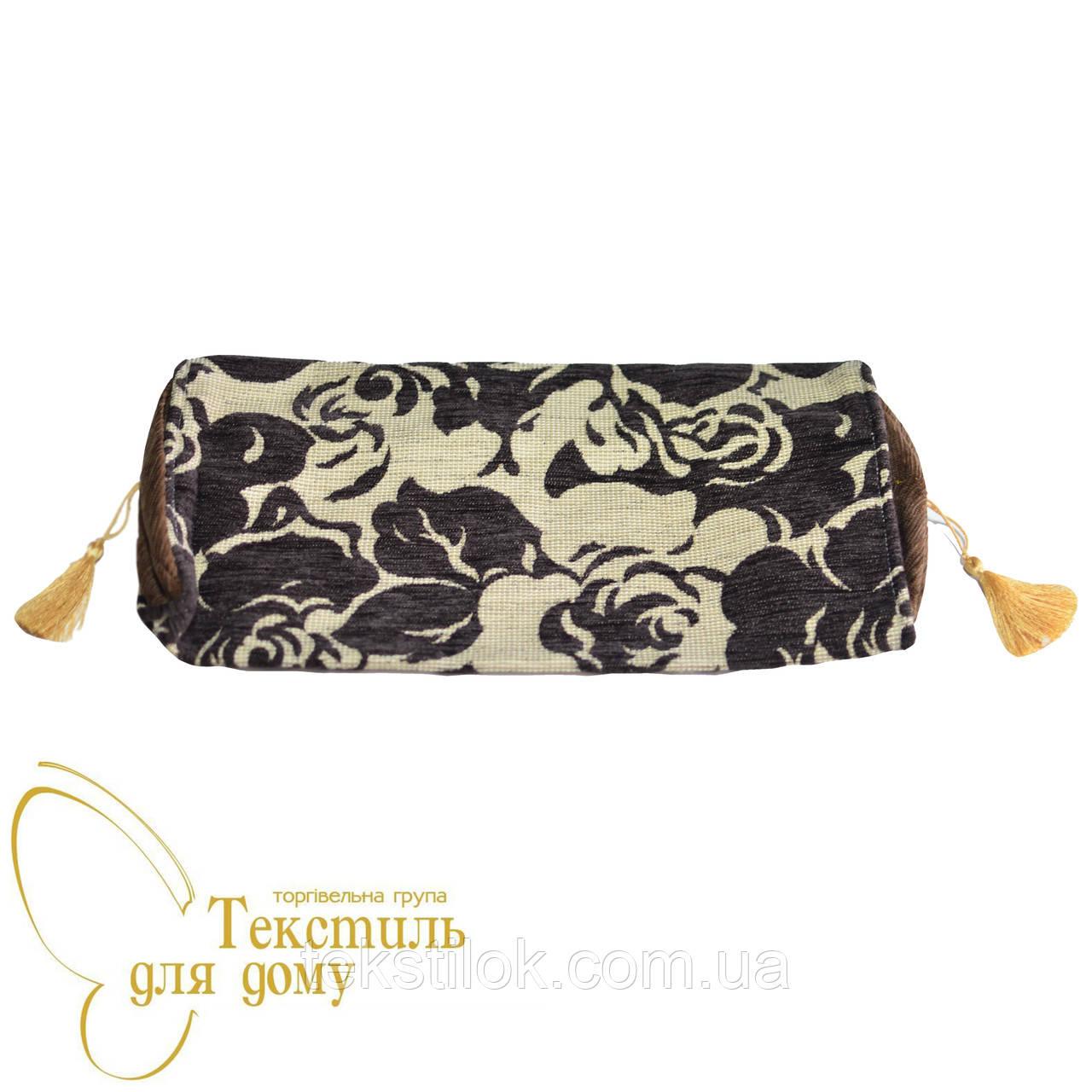 Наволочка декоративная валик рельефные цветы BURGAZ, коричневый