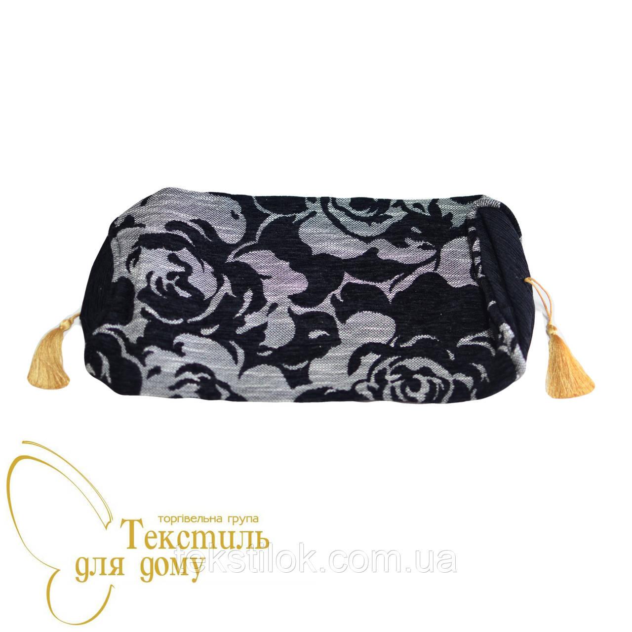 Наволочка декоративная валик рельефные цветы BURGAZ, черный
