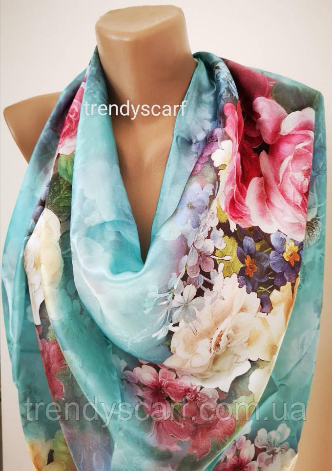 Женский Шелковый платок Бренд. Синий красный оранжевый бирюзовый фиолет голубой синий. Шелк 85\85 см