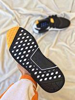Чоловічі кросівки Off-White x Adidas NMD R1 PK Primeknit Black/White/Orange, фото 2