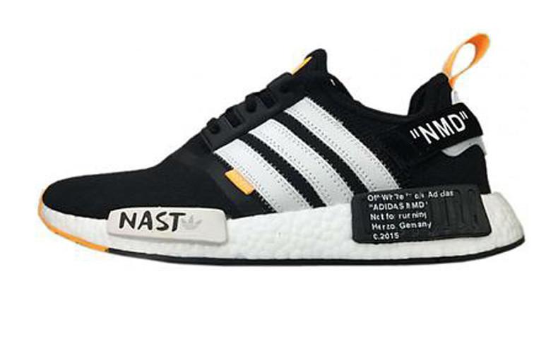 Чоловічі кросівки Off-White x Adidas NMD R1 PK Primeknit Black/White/Orange