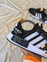 Чоловічі кросівки Off-White x Adidas NMD R1 PK Primeknit Black/White/Orange, фото 3