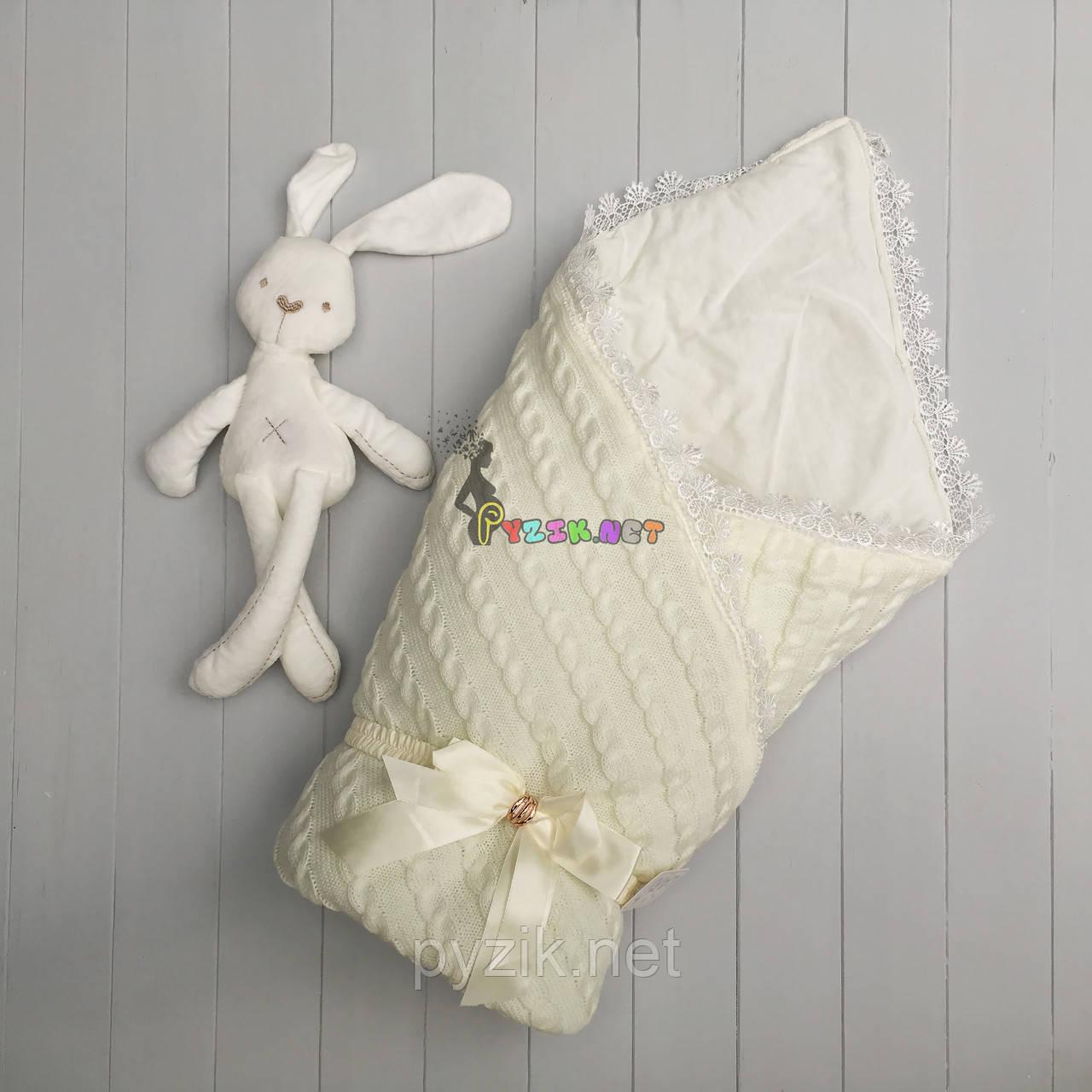 Конверт для новорожденных Lari на выписку и в коляску молочный вязка на синтепоне