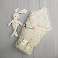 Конверт для новорожденных Lari на выписку и в коляску молочный вязка на синтепоне, фото 1