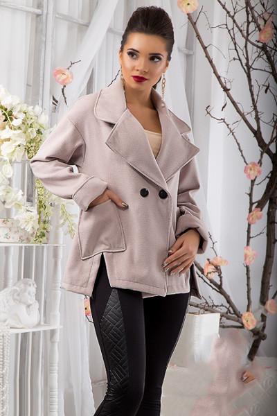 Осеннее пальто с карманами черный бежевый 810900