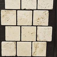 Плитка белая травертиновая состаренная не заполненная 10х10, фото 1