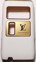 Чехол-Накладка для Nokia N8-00, Louis Vuitton, Белый с Золотистым, Пластиковый /панель/корпус/накладка /нокиа