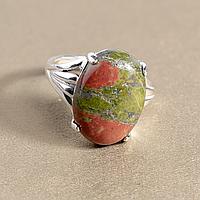 Унакит яшма, 18*13 мм., серебро 925, кольцо, 935КУ