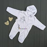 Человечек для новорожденного белый махра, 0-3 месяца, фото 1