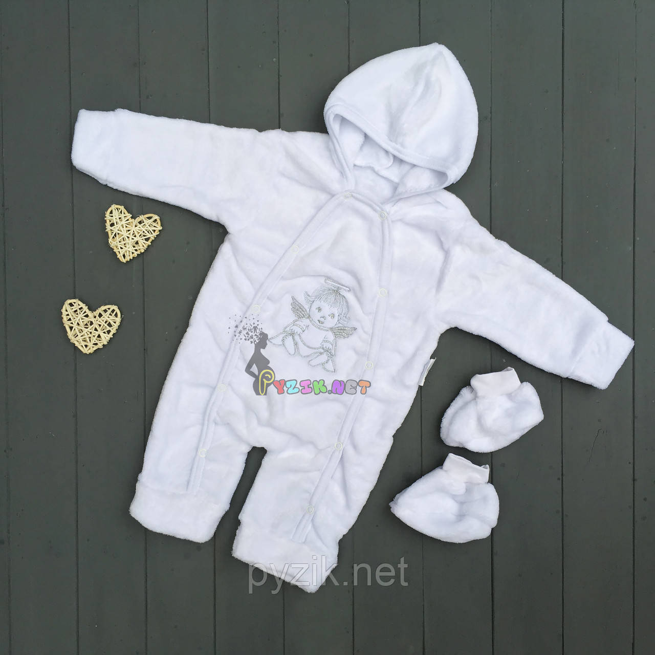 Комплект для новорожденного (человечек+пинетки) махра белый, 3-6 месяцев