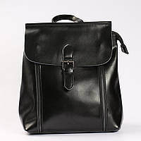 """Женский кожаный рюкзак-сумка (трансформер) на каждый день, черный """"Милла Black"""""""