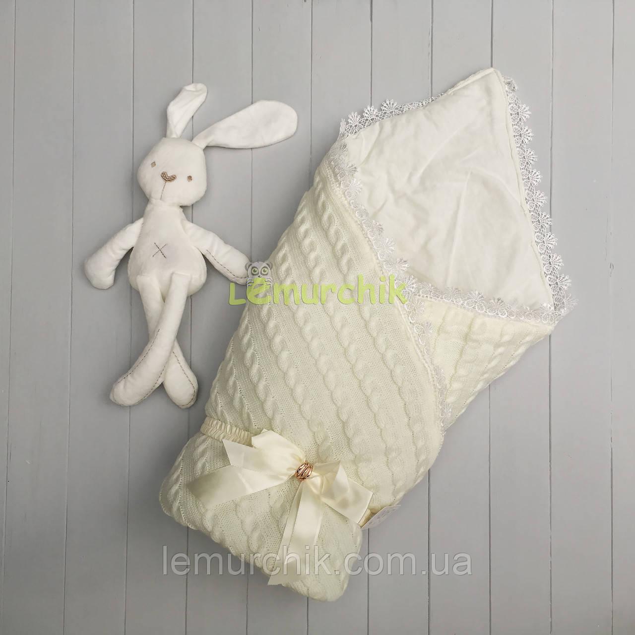 Конверт для новонароджених Larі на виписку і в коляску молочний в'язання на синтепоні