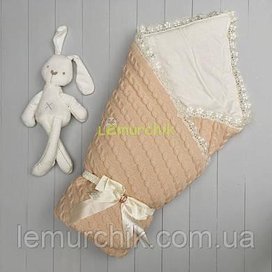 Конверт для новорожденных Lari на выписку и в коляску персиковый вязка на синтепоне