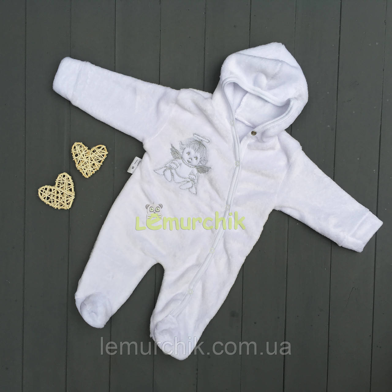 Человечек для новорожденного белый махра, 0-3 месяца