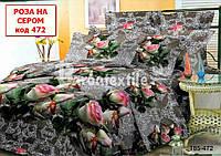 Односпальный набор постельного белья - Роза на сером