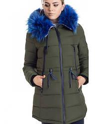 Зимняя куртка 17-13 Хаки+Электрик