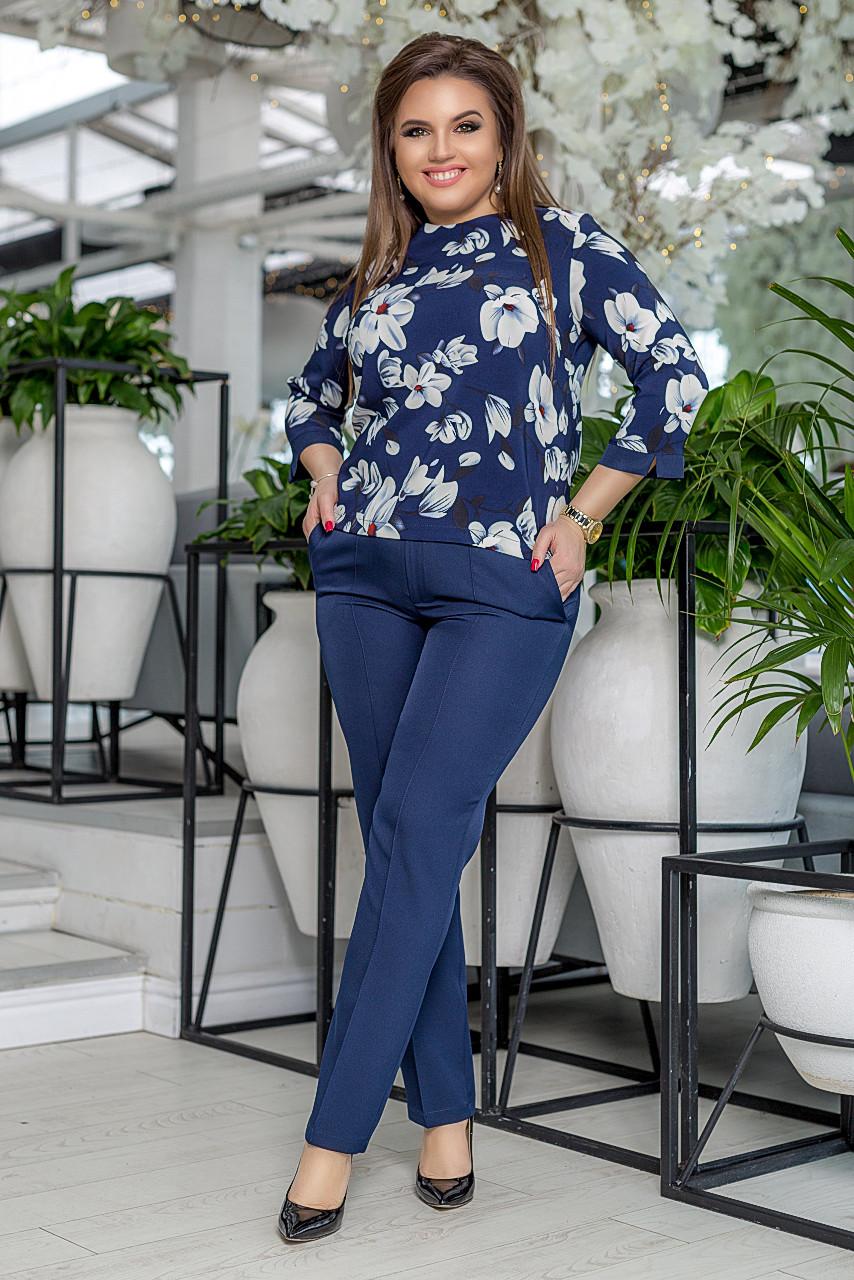 """Брючный женский костюм """"Taner"""" с блузой в цветочек (большие размеры)"""