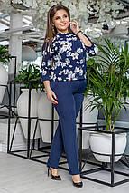 """Брючный женский костюм """"Taner"""" с блузой в цветочек (большие размеры), фото 3"""