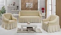 Чехлы на диван и 2 кресла , Турция с оборкой (Много цветов в наличии)