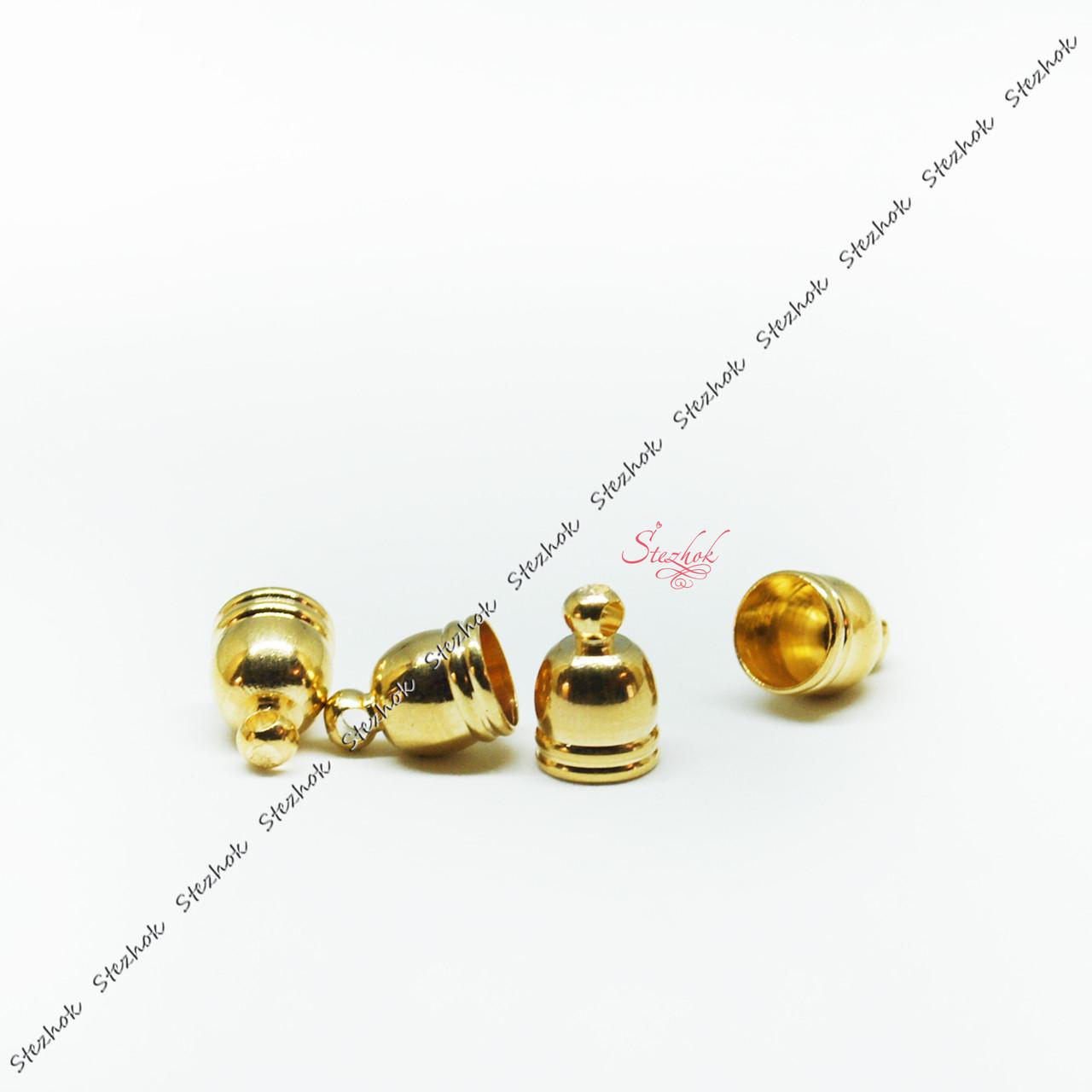 Концевик для шнура 10х6мм золото для рукоделия