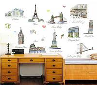 """Наклейки в офис, в детскую, в школу, в магазин """"10 лучших достопримечательностей мира"""" 120*105см (лист60*90см)"""