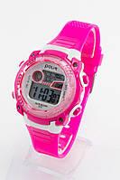 Детские наручные часы Polit (Полит), розовый корпус и серебристый циферблат