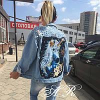 Джинсовая куртка с аппликацией единорога (1 цвет)